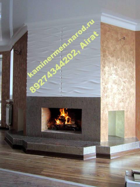 Дизайнерский камин из кирпича, с отделкой керамической плиткой