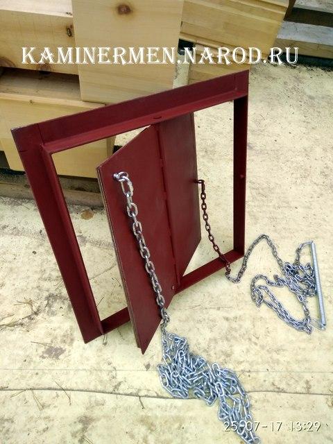 Заслонка для камина самодельная поворотная с цепью