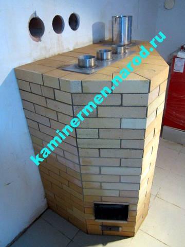 Печь банная кирпичная на газе с парогенератором